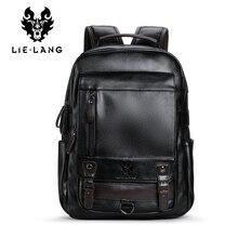 LIELANG बैकपैक पुरुषों की Mochila Masculina पुरुषों फैशन प्रवृत्ति बड़ी क्षमता युवा अवकाश काला यात्रा चमड़ा कंप्यूटर बैग पुरुषों