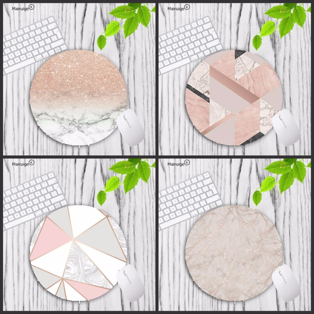 Mairuige Pink Rose Gold Marble Round Mousepad 20X20CM 22X22CM Lock Edge Mouse Pad Choose For Gift/game/office Tablet Mats