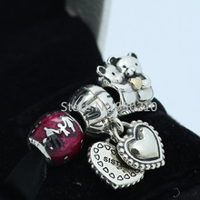 925 Sterling Silver Charm & Bead Sets with Box Fit European Jewelry Bracelets & Necklaces