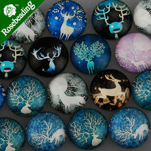 20MM Round pattern glass cabochons with mixed elk,flat back,thickness 6mm,20pcs/lot-C4732