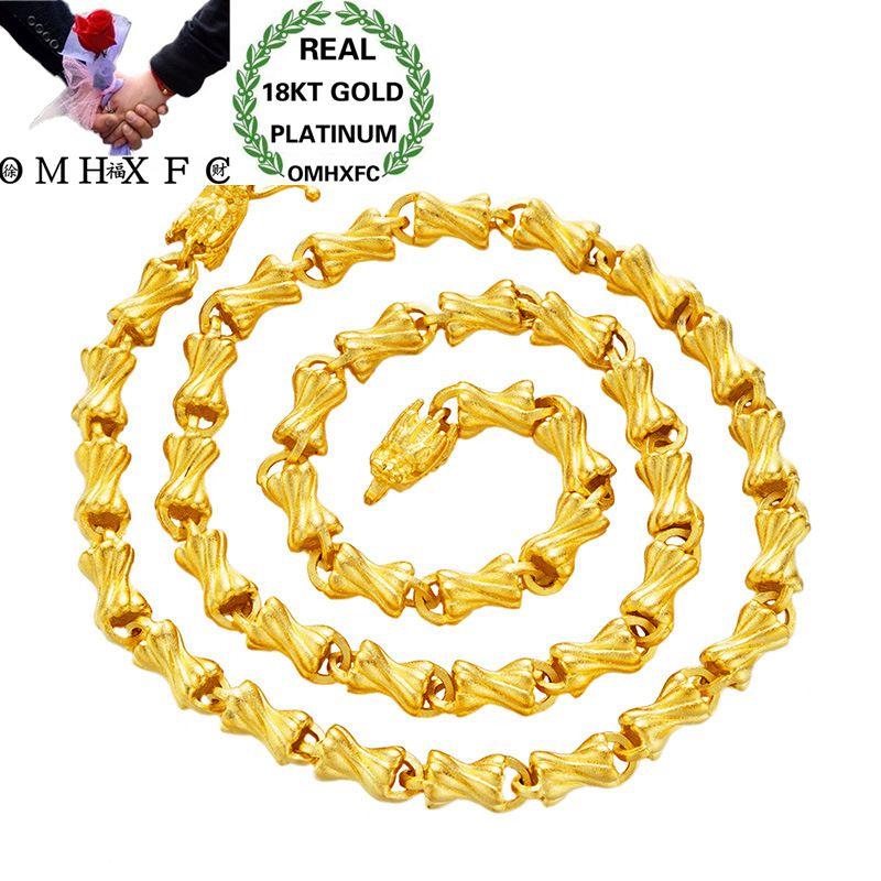 OMHXFC gros mode européenne homme mâle fête mariage cadeau Long 58 cm Vintage bonbons épais réel 18KT or chaîne collier NL01