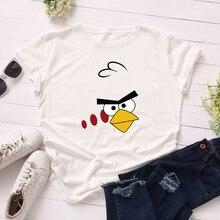 GUMPRUN Women Clothes 2019 Angry Bird Fashion Short Sleeve T Shirt Summer O Neck Loose Print Streetwear Cotton Casual Tshirt