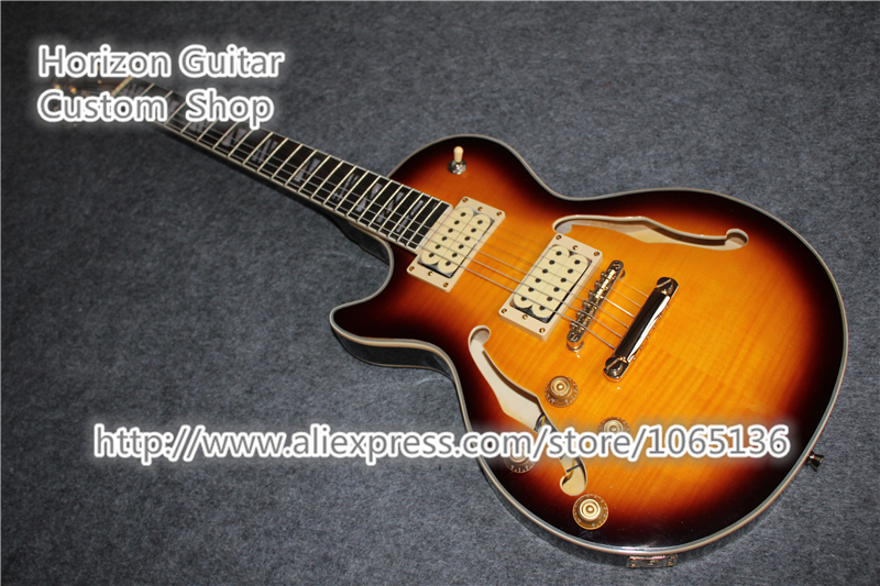 custom shop semi hollow guitar oem left handed body vintage sunburst in stock free shipping in. Black Bedroom Furniture Sets. Home Design Ideas