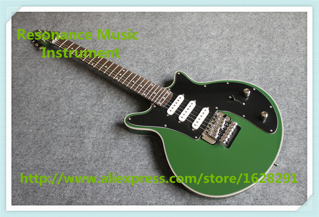 Cheap Chinese Custom Shop 24 Frets Brian May Electric Guitar Glossy Green Finish Guitar Body & Kits For Sale