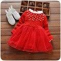 Gola de renda de outono novidade meninas do bebê vestido de malha patchwork vestido tutu meninas vermelhas peral infantil meninas vestidos da princesa vestidos