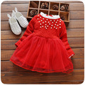 autumn newness lace collar baby girls dress mesh patchwork girls tutu dress red peral infant girls dresses princess vestidos