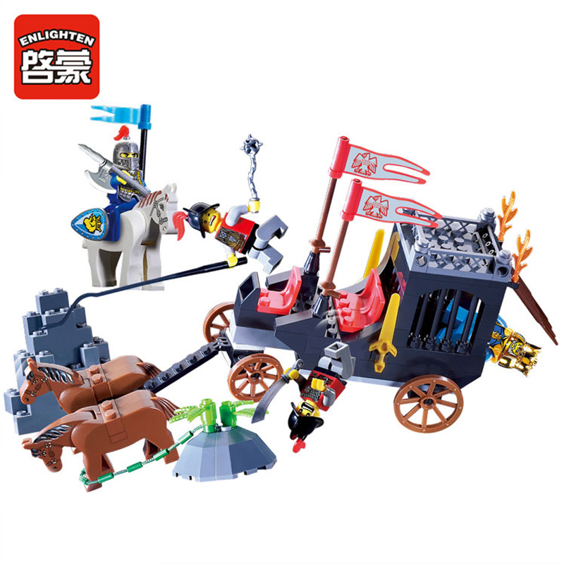 ENLIGHTEN Castle Series Pirate Robbery King Horse-Drawn Carriage Model Building Blocks Figure Toys For Children Compatible Legoe 1215 enlighten city series dolphin observation submarine model building blocks action figure toys for children compatible legoe