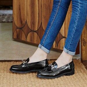 Image 5 - Мокасины BeauToday, женские брендовые туфли на плоской подошве, с круглым носком, без застежек, из лакированной коровьей кожи, ручная работа, 27040