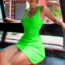 AOSSILIND Women Short bodycon dress Fluorescent Green sexy sleeveless skinny party strap mini casual dresses