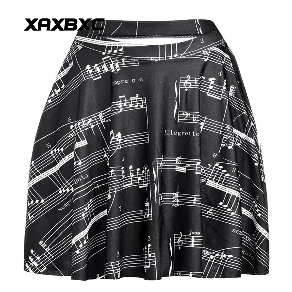 NEW 1187 Summer Sexy Girl Music Note music score Printed Cheering Squad Tutu Skater Women Mini Pleated Skirt Plus Size