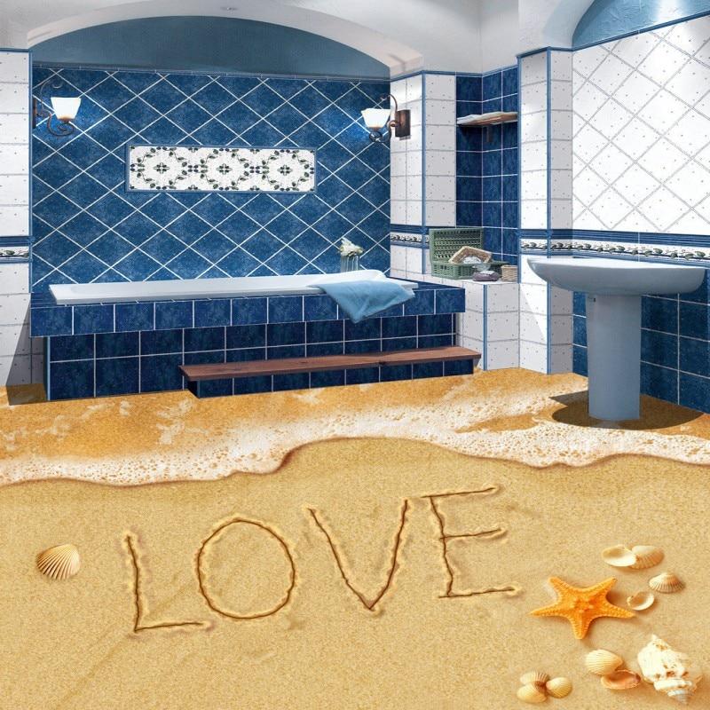Free Shipping non-slip waterproof floor mural Romantic beach bathroom kitchen 3D floor wallpaper