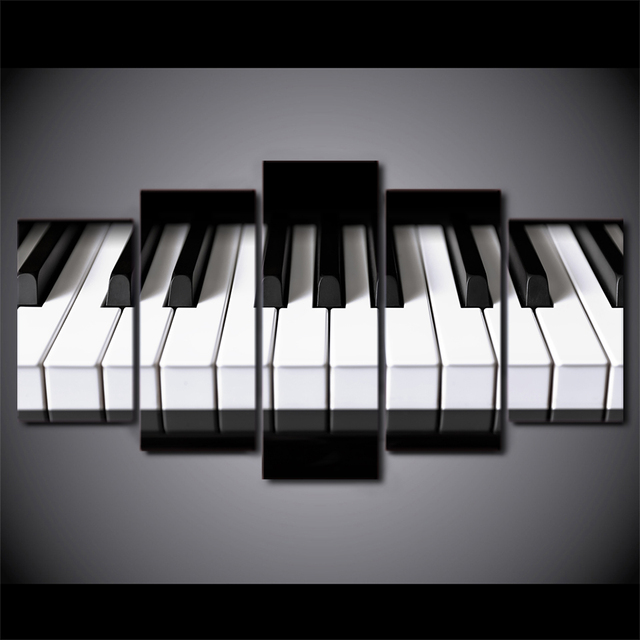 5 Pieces Canvas Art Piano Keys Hd Printed Music Poster Painting Home Wall Pictures