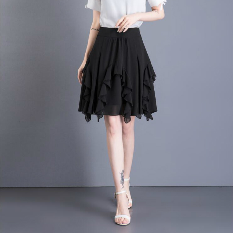 c42bf68fc US $30.0 |2018 new summer Fashion casual empire plus size thin chiffon  young female women girls mini skirts clothes 79154-in Skirts from Women's  ...