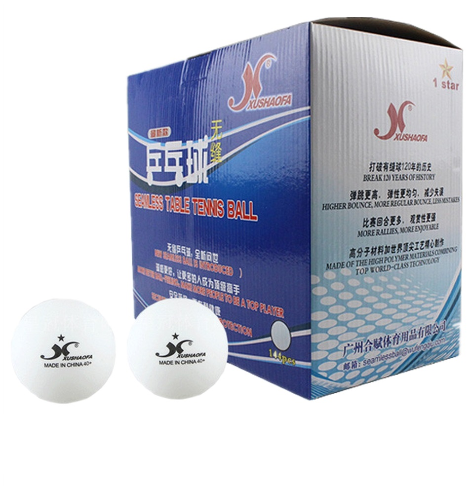 144pcs/lot ITTF Apprved XUSHAOFA 40+ New Material Seamless PP Ball Table Tennis ball / ping pong