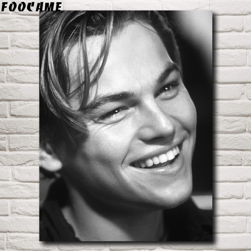 FOOCAME <font><b>Leonardo</b></font> <font><b>DiCaprio</b></font> Classic Movie Posters and Prints Art Silk Wall <font><b>Paintings</b></font> Picture Living Room Modern Home Decoration image