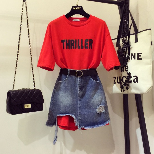 2019 Summer teenager 2 Piece sets Girl's Letters Print Loose Long T-shirt + Hole Irregular Denim Skirts Twinset Jeans Skirt Sets