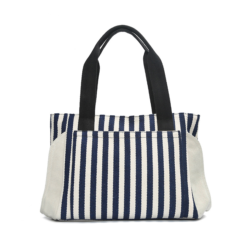 Women Totes Striped Panelled Shoulder Bag Fresh Summer Beach Fashion Handbag Large Capacity Canvas Shopping Bag