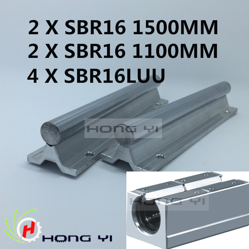 Best Price! 2pcs SBR16 rail L1500mm 16mm 2*sbr16-1100MM linear guide cnc router part linear rail 4PCS SBR16LUU blocks free shipping sbr16 16mm rail l400mm linear guide sbr16 400mm cnc router part linear rail