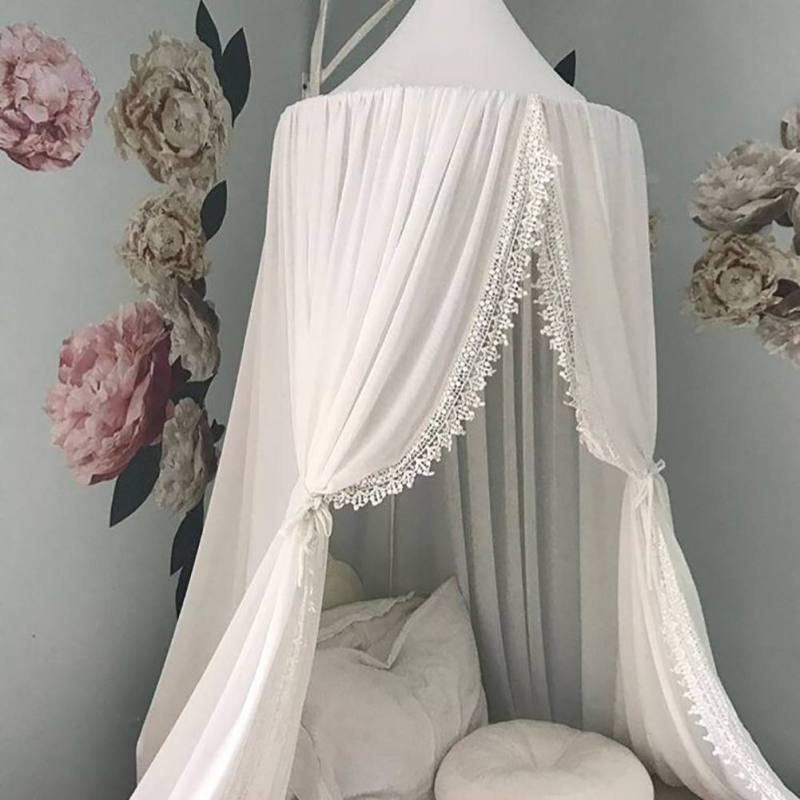 Baby Crib Hung Round Mosquito Net Boys Girls Princess Bed Crib Net Cotton Bed Valance Pest Control Reject Net Kids Room