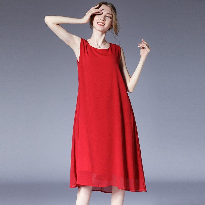 8fe81c1509 2019 new design sleeveless chiffon long dresses plus size O neck solid  color casual women chiffon