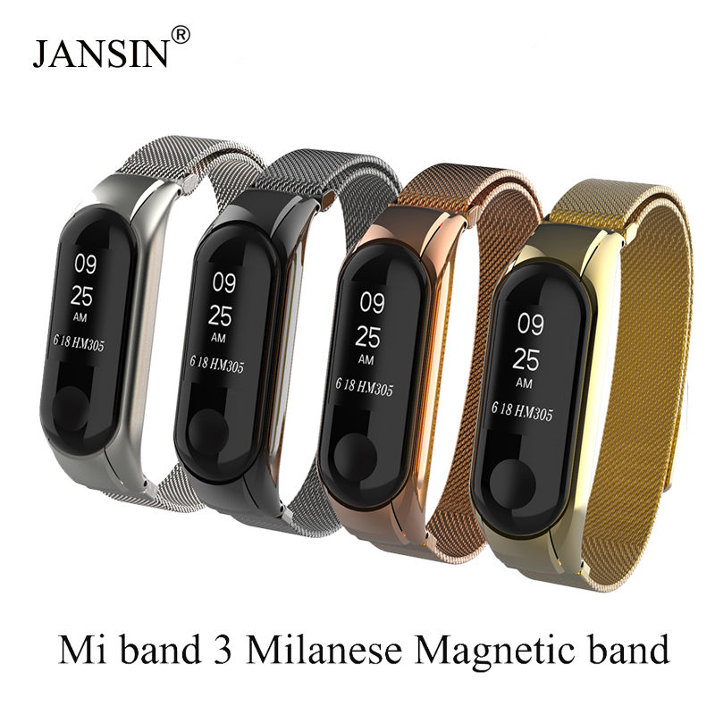 Milanese Loop band for xiaomi mi band 3 Stainless steel strap Magnetic adjustable Bracelet for Xiaomi Mi Band 3 Metal Wrist BandMilanese Loop band for xiaomi mi band 3 Stainless steel strap Magnetic adjustable Bracelet for Xiaomi Mi Band 3 Metal Wrist Band