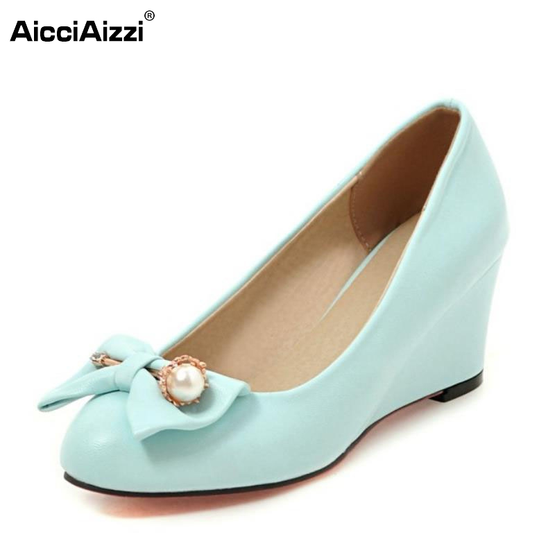 5 Colors New Wedges High Heels Shoes Women Pumps Sweet Round Toe Ladies Shoes Brand Princess Bowknot Fashion Footwear Size 33-43 new 2017 spring summer women shoes pointed toe high quality brand fashion womens flats ladies plus size 41 sweet flock t179
