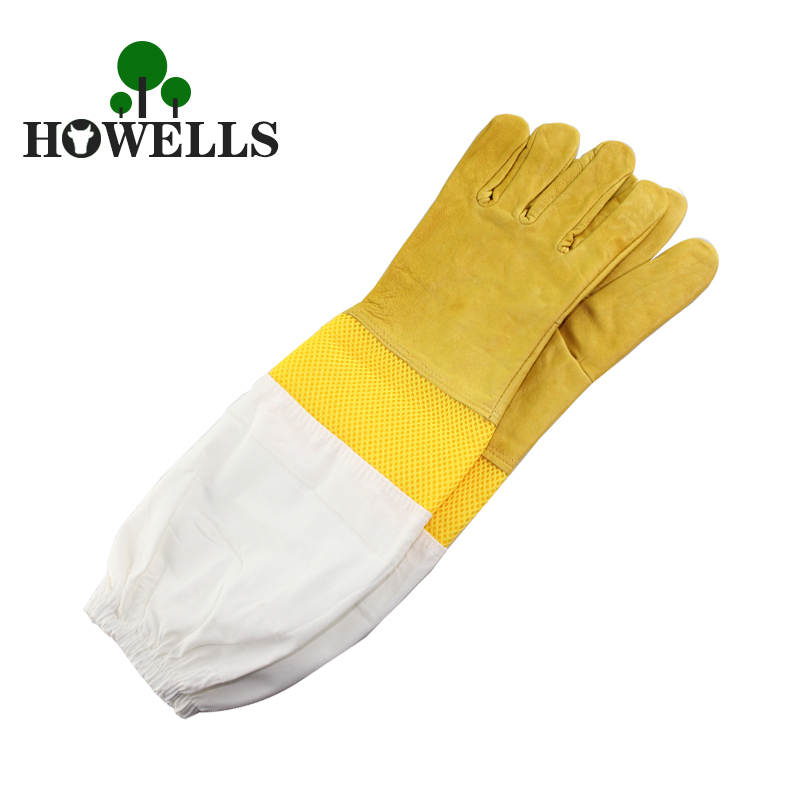 A Pair Protective Beekeeping Gloves Goatskin Bee Keeping Vented Long Sleeves Beekeeper suit Prevent Tools apiculture