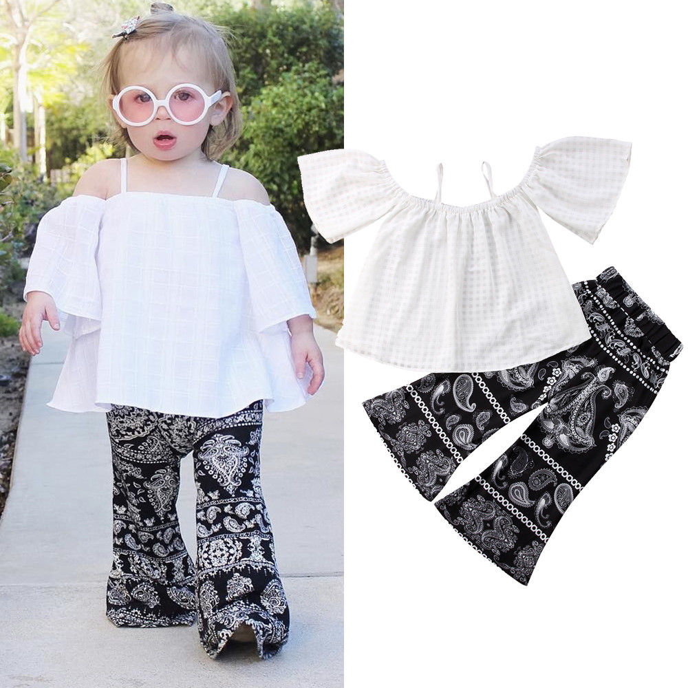 Summer Kid Baby Girl Tops Off Shoulder T-Shirt+Floral Pants Clothes Outfits 1-6Y