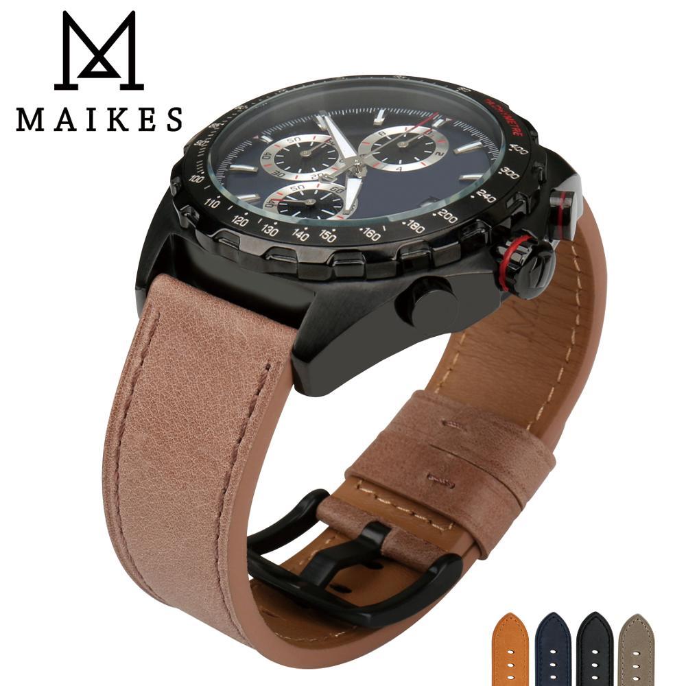 e8e2294b87a6 MAIKES cuero genuino Correa marrón reloj pulsera banda 22mm 24mm Correa  reloj accesorios correa para reloj fossil