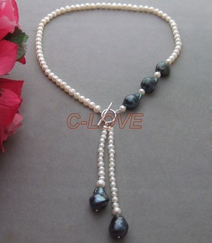 Excellent ! Cultural Pearl & Bead-uncleated pearl Necklace+free shippment