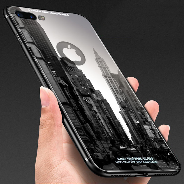 outlet store 64cc5 bb4bf US $2.63 34% OFF|Tempered Glass Back Cover For iphone X 8 7 6 6s Plus Case  Luxury Ultra thin Clear Mirror Full Glass Protection Phone Cases Shell-in  ...