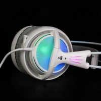 7,1 Sound Headset Regenbogen Neon Beleuchtung Gaming Kopfhörer Mit Mic Für PC Gamer Allstar LOL CS COD Spiel Besser Als Siberia V2