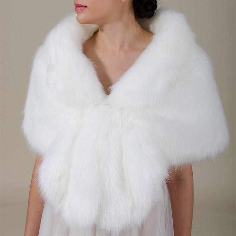 Elegant Plush Women Chic Fur Wedding Wrap Shrug Bolero Bridal Coat Shawl Cape