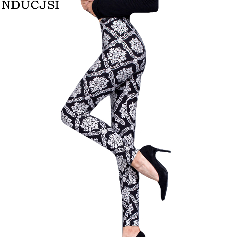 NDUCJSI Woman Leggins Floral Printed   Leggings   Ladies Fashion Casual jeggings Elasticity Push up Pants Female Fitness   Legging
