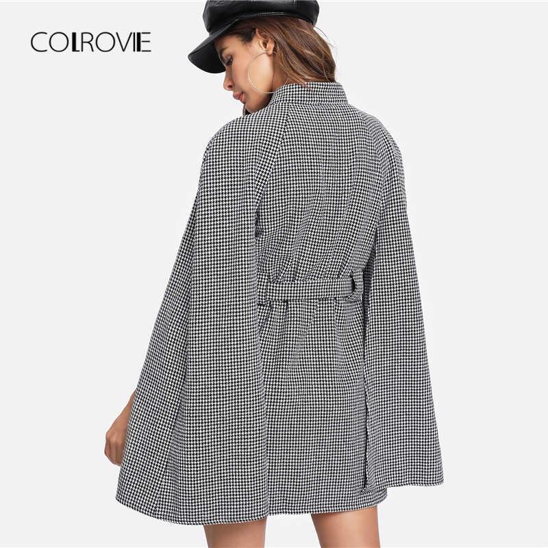 COLROVIE, черный, винтажный, в клетку, с поясом, гусиная лапка, накидка, полушерстяное, Женское пальто, осень 2018, плащ, рукав, зимняя женская верхняя одежда