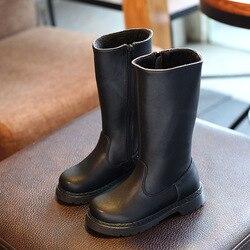 Scarpe dei nuovi bambini di Autunno e di Inverno Del Capretto Stivale Al Ginocchio-alta di Modo Delle Ragazze Martin Boot Bambini Scarpa Nera UE formato 21-30