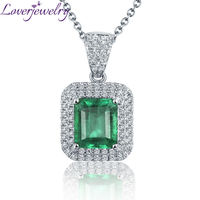 NEW Solid 18Kt White Gold Emerald Necklace Pendant Natural Diamond Wedding Jewelry For Women 2T018