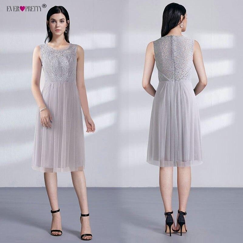 אפור קצר קוקטייל שמלות 2018 פעם די נשים אלגנטי קו שרוולים תחרה זול טול תה-הברך אורך קצר מסיבת שמלה