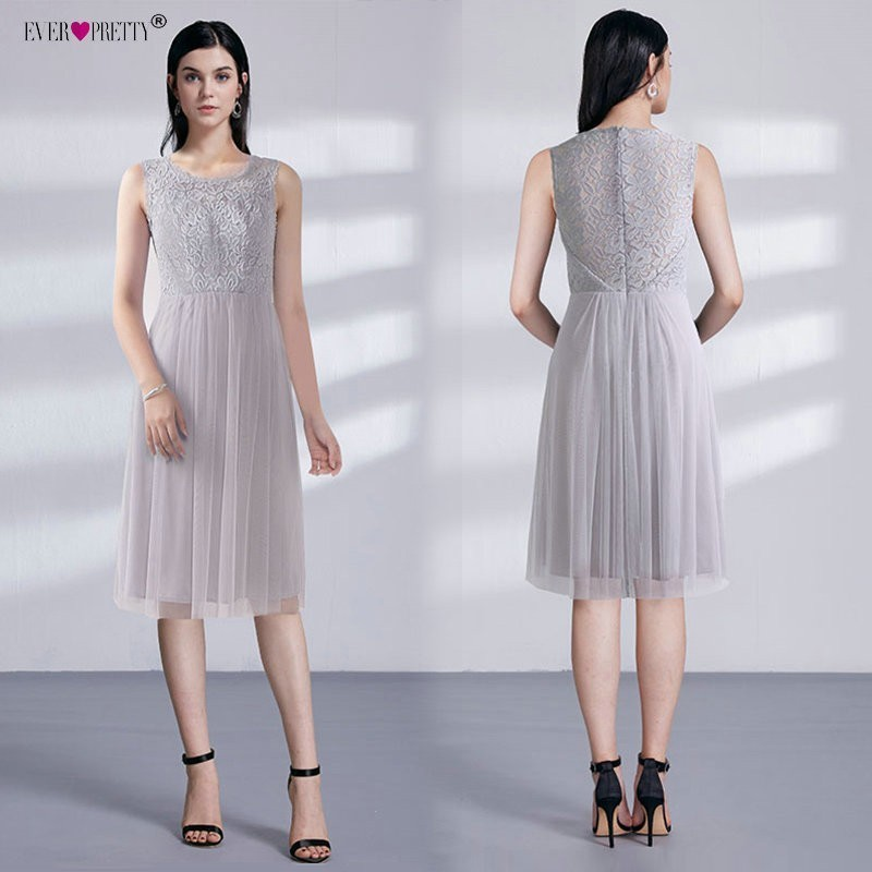 Grey Short   Cocktail     Dresses   2018 Ever Pretty Women Elegant A Line Sleeveless Lace Cheap Tulle Tea-Knee Length Short Party   Dress