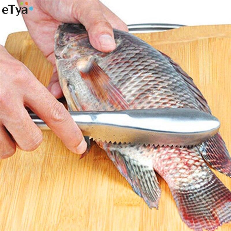 Peau De Poisson Grattoir éplucheur Dissolvant Grattoir Brosse cuisine Gadgets en acier inoxydable