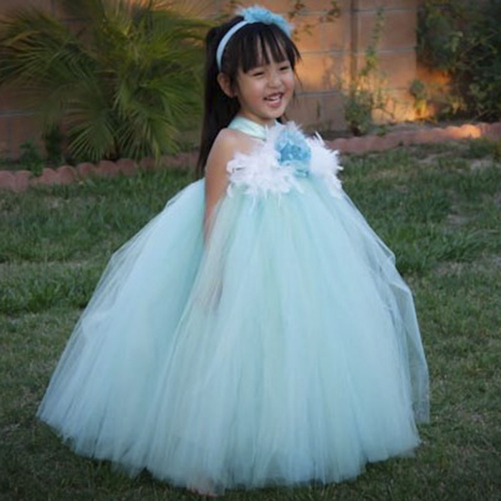 Aqua Mint Flower Girl Dresses Eggplant Flower Wedding Princess Girl ...