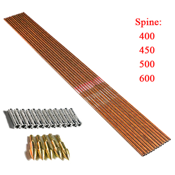 12Pcs 32'' Spine400 450 500 600 ID6.2 Pure Carbon Wood Skin Arrow Shafts + Insert Point Archery Compound Bow Hunting Shooting