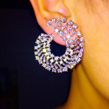 L3.4*W2.9cm AAA cubic zirconia novel design curve stud earrings for women fashion jewelry party ear wedding accessories gift