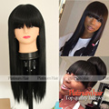 Hot Sale Long Silky Straight Bangs Wigs 180 Density Smooth Straight High Quality Fiber Hair Synthetic Wigs With Baby Hair