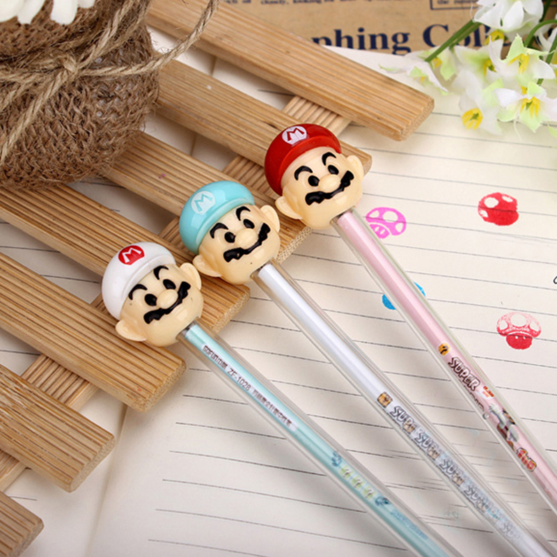 office & school mini cartoon Mario seal neutral 0.38 black pen Korea creative stationery manufacturers 12 pcs/set random color japanese korea stationery portable mini roller secrecy stamp garbled seal graffiti seal teacher secrecy stamp