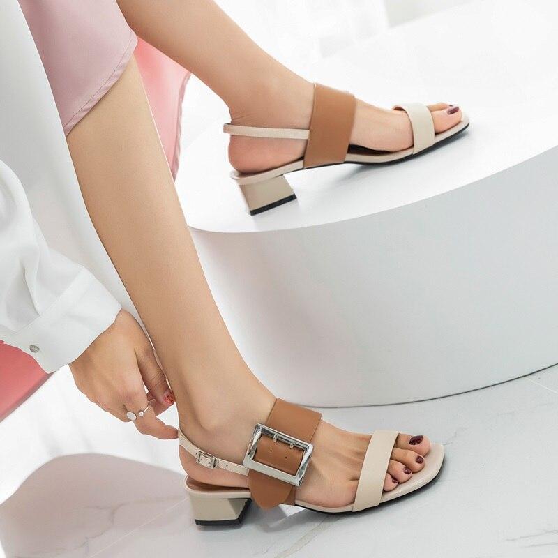 EGONERY أحذية امرأة 2019 الصيف جديد موجزة عارضة عالية الجودة الغنم صناديل للنساء خارج منتصف ساحة الكعوب السيدات أحذية-في الكعب المتوسط من أحذية على  مجموعة 3