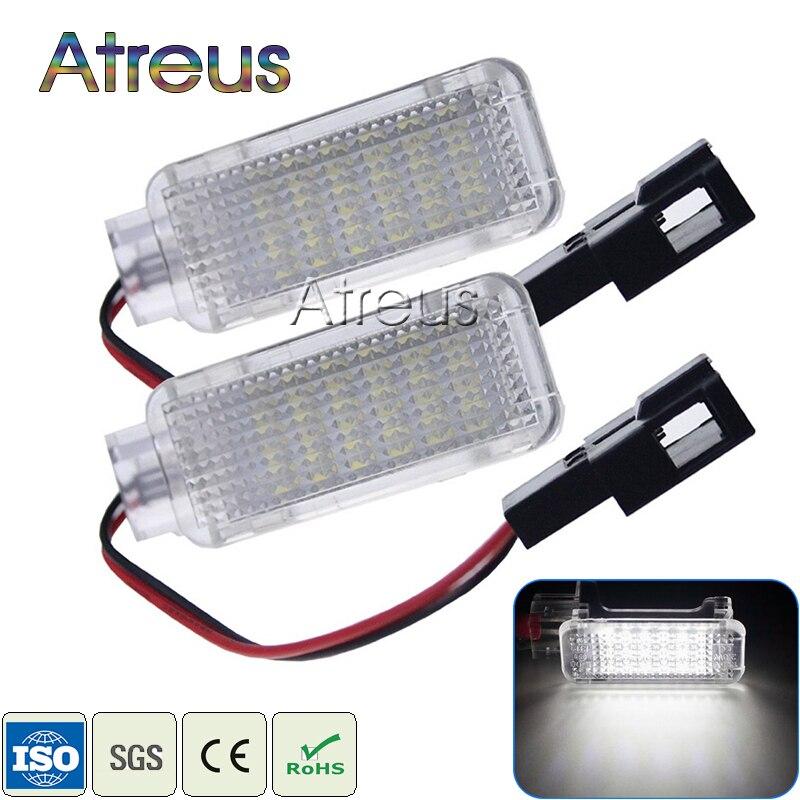 Atreus 2X Car Door Welcome Lights 12V For Audi A2 A3 S3 A4 S4 RS4 A5 S5 A6  S6 RS6 A8 S8 Q5 Q7 TT R8 White SMD LED Courtesy Lamp