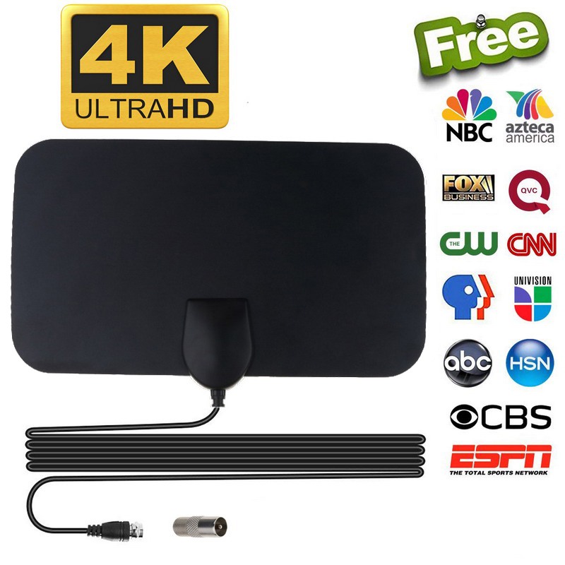 Kebidumei Tv-Antenna Aerial Tv-Dtv-Box 50-Miles-Booster Active Digital Flat-Design High-Gain