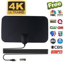 Kebidumei 4 K 25DB alta ganancia HD TV DTV TV Digital antena EU Plug 50 millas refuerzo activo interior antena HD diseño plano(China)