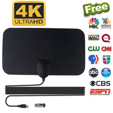 Kebidumei 4K 25DB High Gain HD TV DTV Box Digital TV Antenna EU Plug 50 Miles Booster Active Indoor Aerial HD Flat Design(China)